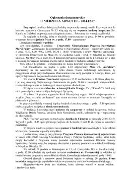 Ogłoszenia duszpasterskie II NIEDZIELA ADWENTU – 2014.12.07