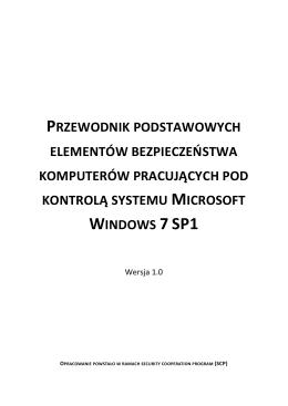 Przewodnik Zabezpieczeń systemu Windows 7 SP1 - CERT-u