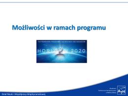 Możliwości w ramach programu Horyzont 2020