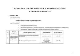Plan pracy ZS nr 1 w Nowym Miasteczku w roku szkolnym 2014/2015