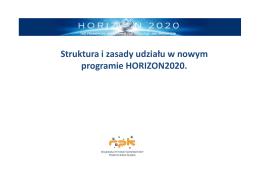 Struktura i zasady udziału w nowym programie HORIZON2020.