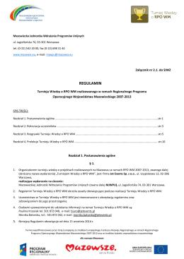 Regulamin Turnieju Wiedzy o RPO WM - SIWZ