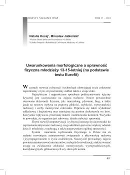 Uwarunkowania morfologiczne a sprawność - APGR