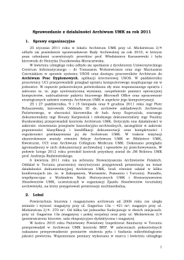 Sprawozdanie z działalności Archiwum UMK za rok 2011