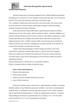 Zalecenia dla pacjentów operowanych metodą - Silesia