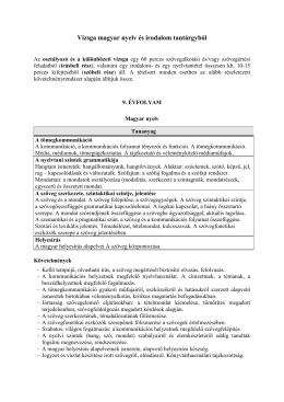 Vizsga magyar nyelv és irodalom tantárgyból