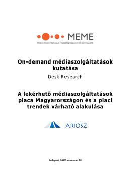 DESK RESEARCH - Magyar Elektronikus Műsorszolgáltatók