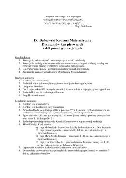 Regulamin - I Liceum Ogólnokształcące im. Waleriana Łukasińskiego