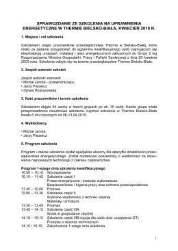 sprawozdanie ze szkolenia na uprawnienia energetyczne