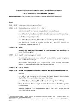 Program III Międzynarodowego Kongresu Płatności Bezgotówkowych