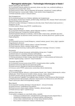 Wymagania edukacyjne – Technologia informacyjna w klasie I