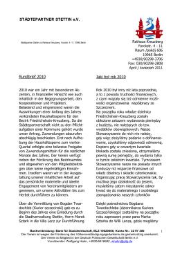 Sprawozdanie za rok 2010 - Städtepartner Stettin eV
