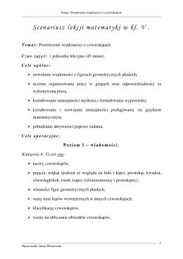 Scenariusz lekcji matematyki w kl. V .