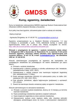 GMDSS Kursy, egzaminy, świadectwa