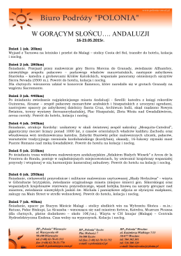 Program Wycieczki HISZPANIA - ANDALUZJA