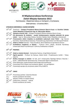 Program Konferencji Zieleń Miejska Katowice 2013
