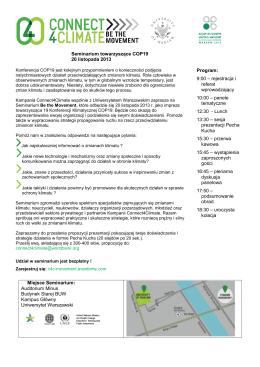 Seminarium towarzyszące COP19 20 listopada 2013 Program: 9:00