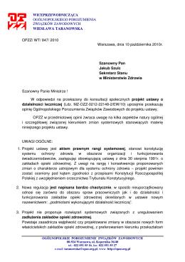 2 Opinia OPZZ do pr. ustawy o dzia3alno-234ci leczniczej 10.10.-205