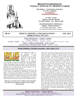 BIULETYN PARAFIALNY WEEKLY NEWS OF ST. HEDWIG PARISH