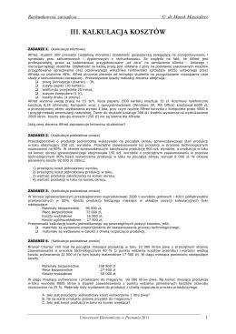 III. KALKULACJA KOSZTÓW - Uniwersytet Ekonomiczny w Poznaniu