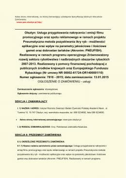 Olsztyn: Usługa przygotowania nakręcenia i emisji filmu