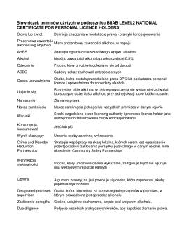 Słowniczek terminów użytych w podręczniku BIIAB LEVEL2