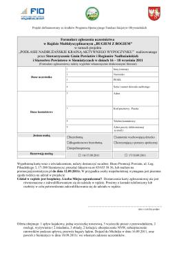 Formularz rekrutacyjny do Projektu