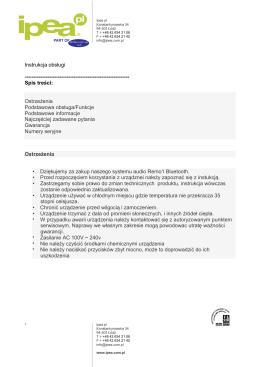 Instrukcja obsługi zestawu audio REMO1