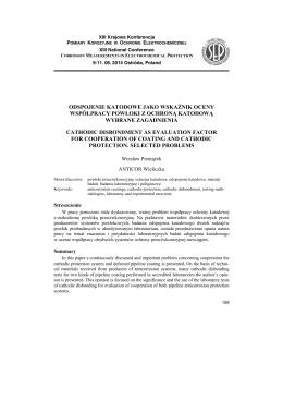 odspojenie katodowe jako wskaźnik oceny współpracy powłoki z