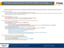 Instrukcja integracji systemu PayPal dla klientów firmy Dotpay [1/2]
