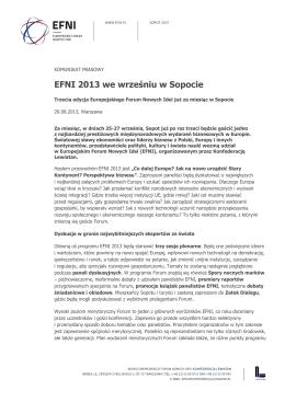 EFNI 2013 we wrześniu w Sopocie