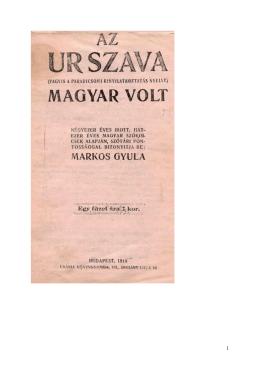 Markos Gyula Az Ur szava magyar volt