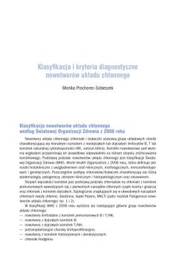 Klasyfikacja i kryteria diagnostyczne nowotworów układu chłonnego