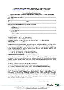 Prosimy o przesłanie wypełnionego i podpisanego formularza na