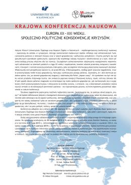 krajowa konferencja naukowa - Instytut Historii Uniwersytetu Śląskiego