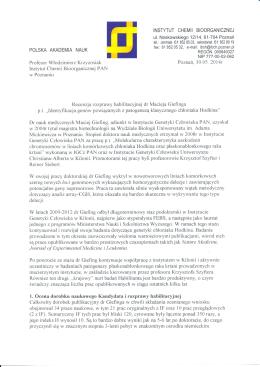 Recenzja nr 3 - INSTYTUT GENETYKI CZŁOWIEKA PAN w Poznaniu