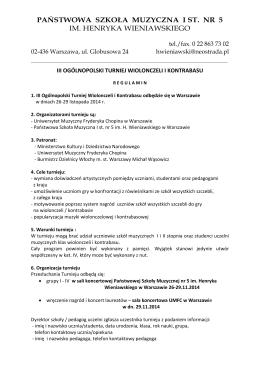regulamin - Państwowa Szkoła Muzyczna I st. nr 5 im. H