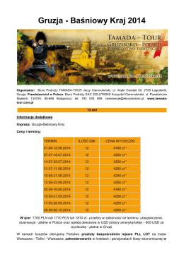 Gruzja - Baśniowy Kraj 2014 - Tamada-Tour