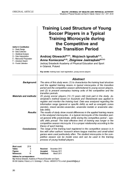 Training Load Structure of Young Soccer Players in a Typical