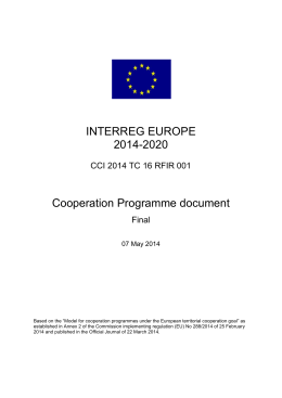 INTERREG EUROPE 2014-2020 Cooperation Programme document