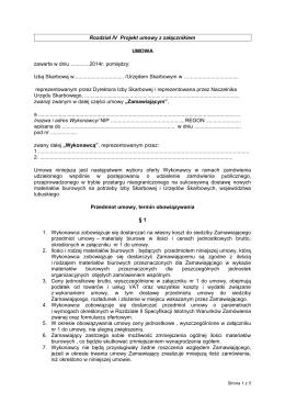 Rozdział IV Projekt umowy z załącznikiem UMOWA zawarta w dniu