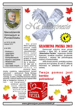 SZLACHETNA PACZKA 2013 - Gimnazjum w Pomiechówku