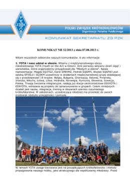KOMUNIKAT NR 32/2013 z dnia 07.08.2013 r.