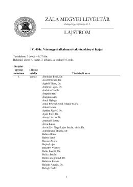 Lajstrom - Zala Megyei Levéltár