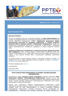 Biuletyn nr 39, 13 listopad 2014 AKTUALNOŚCI PPTB Szanowni