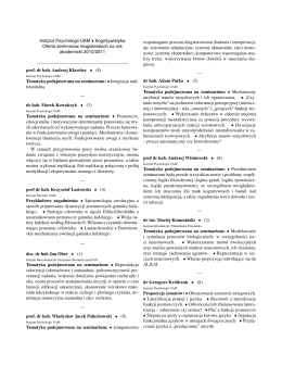 Instytut Psychologii UAM • Kognitywistyka Oferta - Logika
