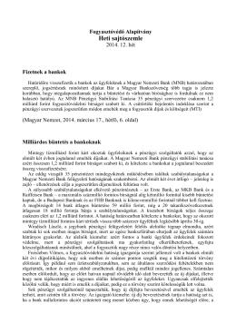 Sajtószemle 2014. 12. hét - Fogyasztóvédő és Érdekszövetség