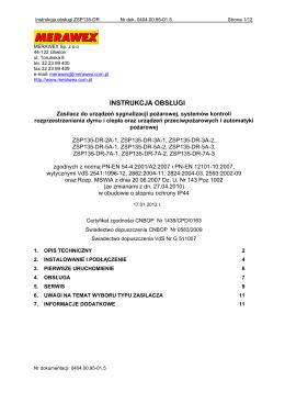 Instrukcja obsługi ZSP135-DR