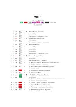 Kalendarz liturgiczny na rok 2015