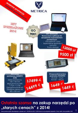 """Ostatnia szansa na zakup narzędzi po """"starych cenach"""" z 2014!"""